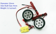 JP Hobby All-In-One Assembled Main Wheel Set (Diameter: 55mm Axle Shaft Size: 4mm) with JP Electric Braking System